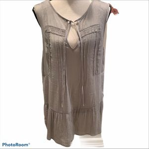 Doe & Rae Gray Gauze Sleeveless Boho top Sz L